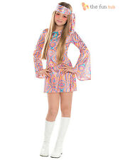 Girls Teen 60s 70s Hippy Chick Fancy Dress Costume Disco Groovy Kids Outfit