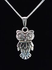 SILVER VINTAGE OWL NECKLACE. CHRISTMAS GIFT. STERLING SILVER OPTION & GIFT BOX