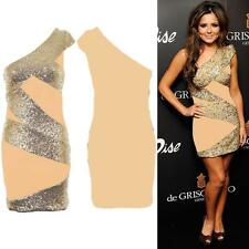 Women's Celeb Inspired Sequin Contrast One Shoulder Ladies Party Bodycon Dress