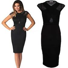 Ladies Celeb Inspired Jessica Black Mesh Insert Wrap Bodycon Women's Dress 8-14