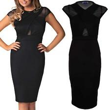 Ladies Celeb Jessica Mesh Insert Black Cross Over Wrap Bodycon Women's Dress