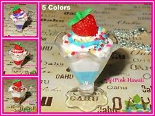 RARE Handmade Large Ice cream Sundae Sprinkle 5 Flavors Silver Plated Necklaces
