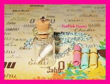 Dream Wish Hope Love Message in a Bottle Charm Bottle Necklace Silver Plated USA