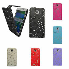 SAMSUNG GALAXY ALPHA FLORAL GLITTER DIAMOND FLIP CASE COVER IN VARIOUS COLOURS