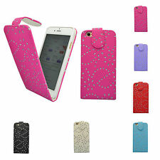 APPLE IPHONE 6 FLORAL GLITTER DIAMOND FLIP CASE COVER IN VARIOUS COLOURS