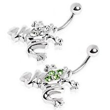 New Surgical Steel Frog Toad Clear Green Gem Belly Naval Piercing Bar 14g