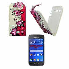 CASE COVER PINK CREAM FLOWER PRINTED PU LEATHER FLIP FOR SAMSUNG GALAXY ACE 4