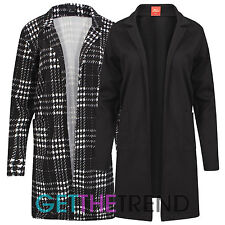 Womens Plain Black Long Duster Coat Blazer Ladies Open Cardi Slip On Jacket 8-14