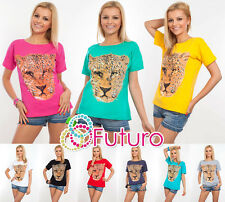 Ladies Top CHEETAH Print Boat Neck Short Sleeve Cotton T-Shirt Sizes 8-14 FB04