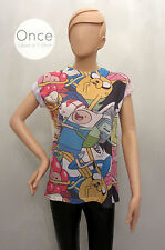 Primark Official Ladies ADVENTURE TIME COLLAGE CHARACTER T Shirt