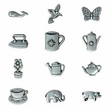 Antique Silver Metal Character Buttons with Shank - Pig, Elephant, Bird, Tea Pot