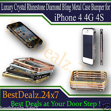 Luxury Crystal Rhinestone Diamond Bling Metal Case Bumper for iPhone 4 4G 4S
