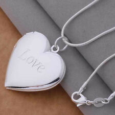 Valentine Necklace Love Heart Shaped Silver Plated Locket Girlfriend Pendant