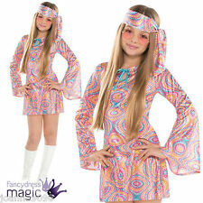Girls Teen 60s 70s Hippy Chick Groovy Disco Diva Fancy Dress Costume Kids Outfit