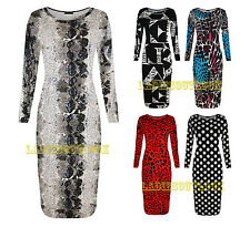 New Celebrity Womens Ladies Long Sleeve Printed Stretchy Bodycon Midi Dress 8-22