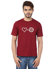 Stylish Heart = Football Round Neck T-Shirts