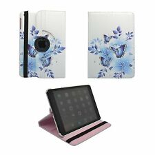 iPAD MINI AND MINI2WHITE CASE BLUE BUTTERFLY AND FLOWER PRINT 360 ROTATING COVER