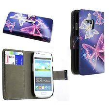 BLUE WHITE PINK BUTTERFLY BOOKFLIP PU LEATHER CASE SAMSUNG GALAXY S3 MINI I8190
