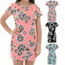 Womens Short Sleeve Textured Crepe Pastel Floral Print Tunic A-Line Shift Dress