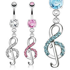 New Novelty Surgical Steel Treble Clef Music Note Dangle Drop Gem Belly Bar