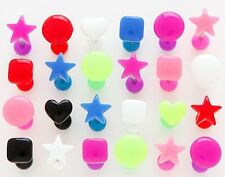 New Surgical Steel Novelty Acrylic Shape Tongue Bar 16mm Choose colour & Shape