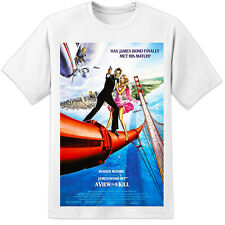 James Bond View To A Kill Movie Poster T Shirt (S-3XL) Retro 007 Roger Moore
