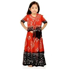 Rajasthani Bandhej Design Girls Red Brown Colour Lehenga Choli Set EIDLI4GED118A