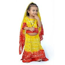 Jaipuri Traditional Bandhej Design Red  Yellow Lehenga Choli Dress EIDLI4GED119D