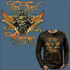 Maglietta A Maniche Lunghe T-Shirt Dragster Motor Tuning Racing Rat Rod Race