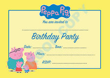 #8 PEPPA PIG Pack of 10 george kids children birthday party INVITATIONS