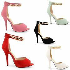 WOMENS STILETTO SANDALS LADIES ANKLE STRAP HIGH HEEL PEEP TOE COURT SHOES SIZE