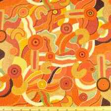 Katoomba Didgeridoo Style Pattern Funky Abstract Sunset 100% Cotton Fabric