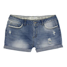 VERO MODA Damen Jeans Shorts Destroyed Denim mit Häkleinsatz Used Waschung