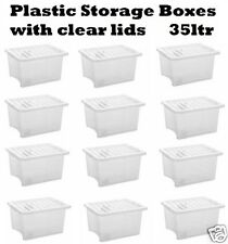 PLASTIC STORAGE BOX CONTAINER 35 LTR STACKABLE CLEAR TRANSPARENT BOXES WITH LIDS