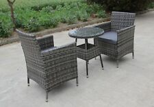 RATTAN 2 TWO SEATER CHAIRS DINING WICKER BISTRO OUTDOOR GARDEN FURNITURE SET