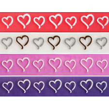 Valentines Day wedding Ribbon hearts and kisses 9mm 16mm wide 2m 5m or 25m reel