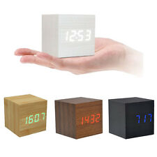 Sound Activated Wooden Cube Digital LED Display Alarm Clock Office Temperature