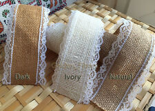 Natural Jute Hessian Burlap Pretty Lace Edge Ribbon Vintage Wedding Rustic Craft
