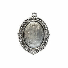 5, 10 or 15 Antique Silver Cabochon Cameo Setting Pendant 18x25mm Tray 01