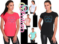 Casual Sequined T-Shirt Crew Neck Short Sleeve Everyday Top Sizes 8-14 FB215