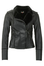 Only Damen PU Leder Jacke Bikerjacke Kunstpelz Women Leather Jacket WOW - 50%