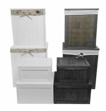 Wooden Brown White Kids Playroom Toy Box Chest Bathroom Laundry Basket Bin + Lid