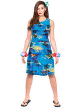 Ladies Hawaiian Short Dress Beach Party Blue Palm New Fancy Dress Summer Aloha