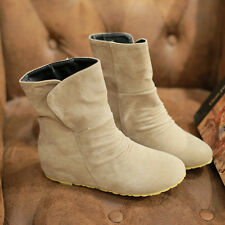 K UK Ladies Boots Suede PU Leather Slippery Prevent Shoes Plus Size Comfy Shoes