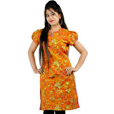 Ethnic Girls Multi-Printed Orange Cotton Kurti Woman Cotton Kurti EIDLI4KUR555
