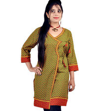 Designer Bootie Print Indian Green Cotton Top Rajasthani Kurti EIDLI4KUR193