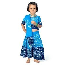 Traditional Bandhej Print Blue Turquoise Girls Lehenga Choli Dress EIDLI4GED116D