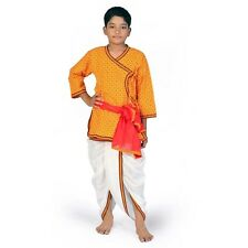 Sanganeri Design Red n Yellow Boys Pure Cotton Dhoti Angrakha Set  EIDLI4KED208C