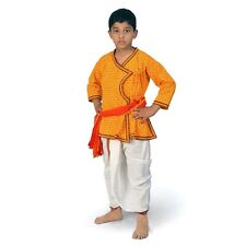 Sanganeri Design Red n Yellow Boys Pure Cotton Dhoti Angrakha Set  EIDLI4KED208B