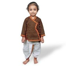 Jaipuri Boys Ethnic Cotton Black n Yellow Dhoti Angrakha Dress  EIDLI4KED206A